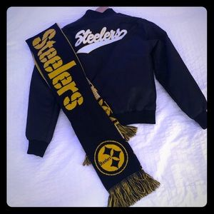 STEELERS Official NFL ladies Bomber jacket w/scarf